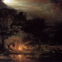 Rest on the Flight into Egypt Rembrandt
